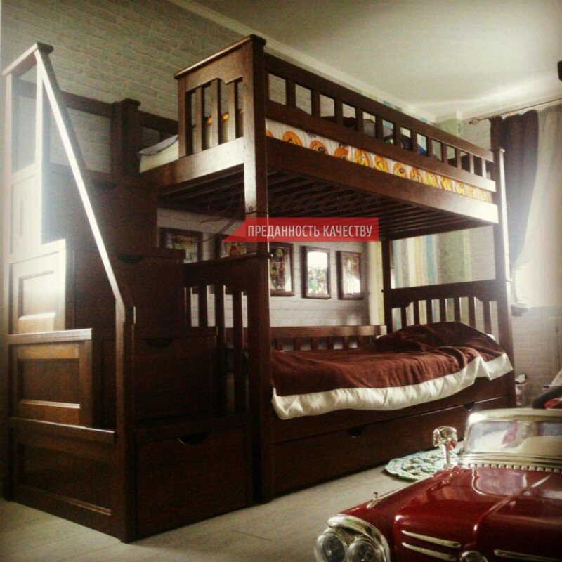 Кровать 2-Х ярусная- 7 из массива