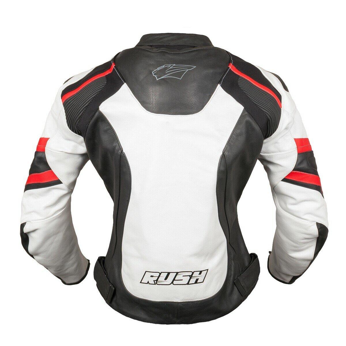 RUSH [RUSH] Мотокуртка BLAZE кожа, цвет Черный/Белый/Красный