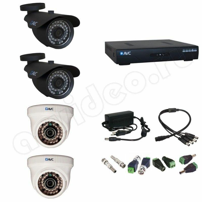 Комплект видеонаблюдения AVC 4-3 Full HD на 4 камеры