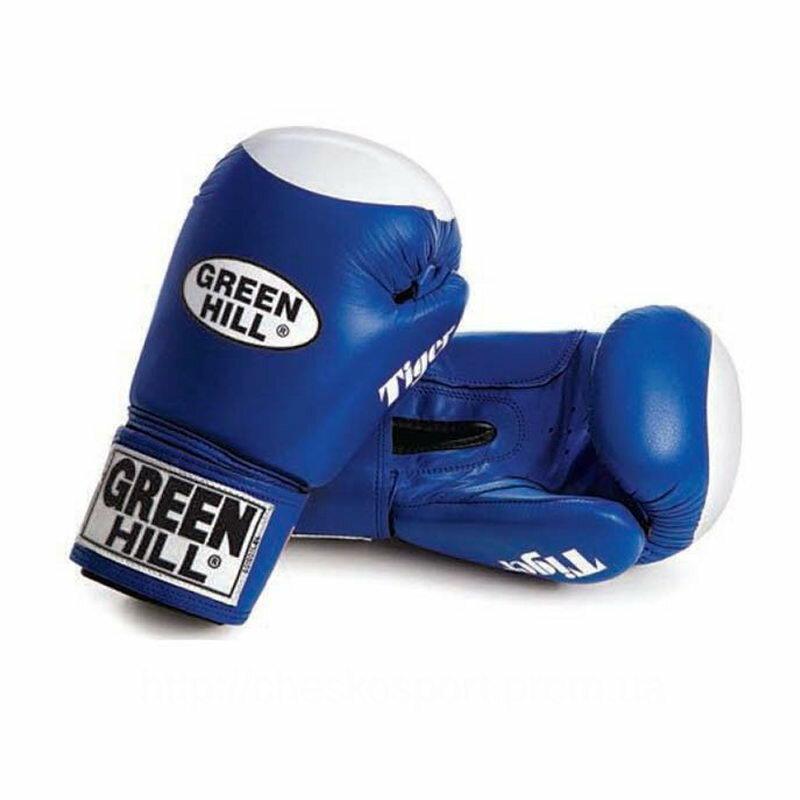 Перчатки боксерские боевые TIGER Антинокаут для соревнований и тренировок Green Hill с мишенью 10 oz