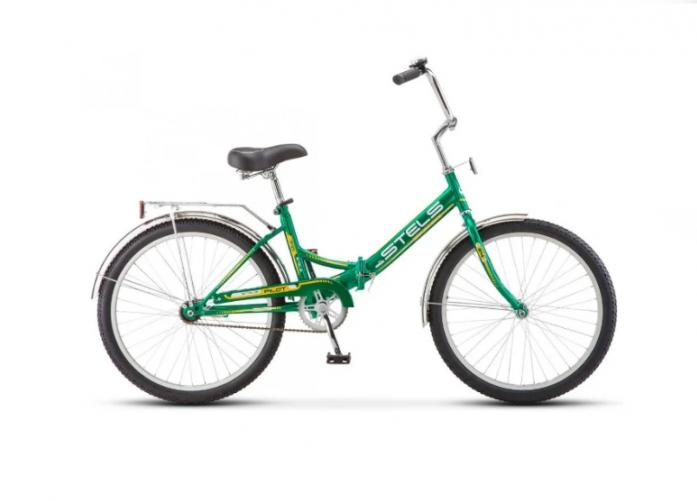 Городской складной велосипед Stels 24 Pilot 710 (2018) зеленый/желтый LU077080