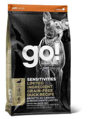 Сухой беззерновой корм для щенков и собак GO!™ Sensitivity + Shine Duck Dog Recipe для чувствительного пищеварения со свежей уткой, 1,59 кг