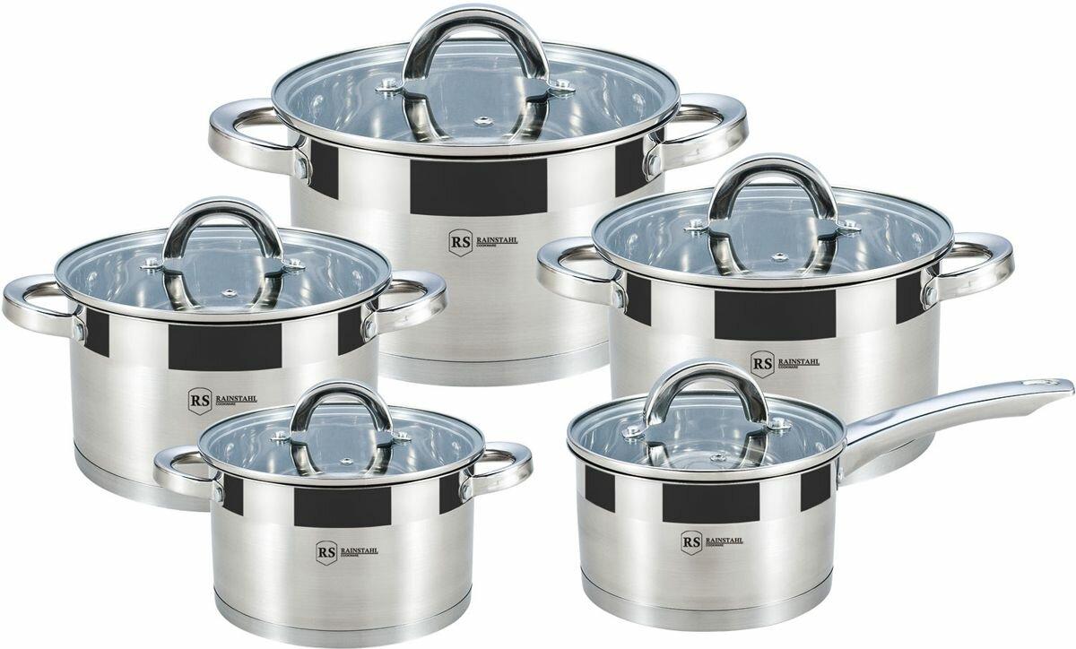 Посуда RS CW 1013-10 10 предметов 1.8л, 1,9л, 2,7л, 3,6л, 6,1л капсульное дно