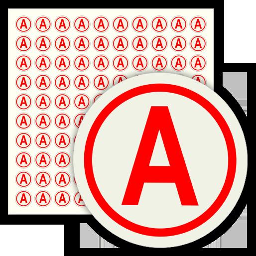 Наклейка буква «А» на аварийный светильник, B92 (пленка, диаметр 15 мм, блок 100 штук, 180х180 мм)