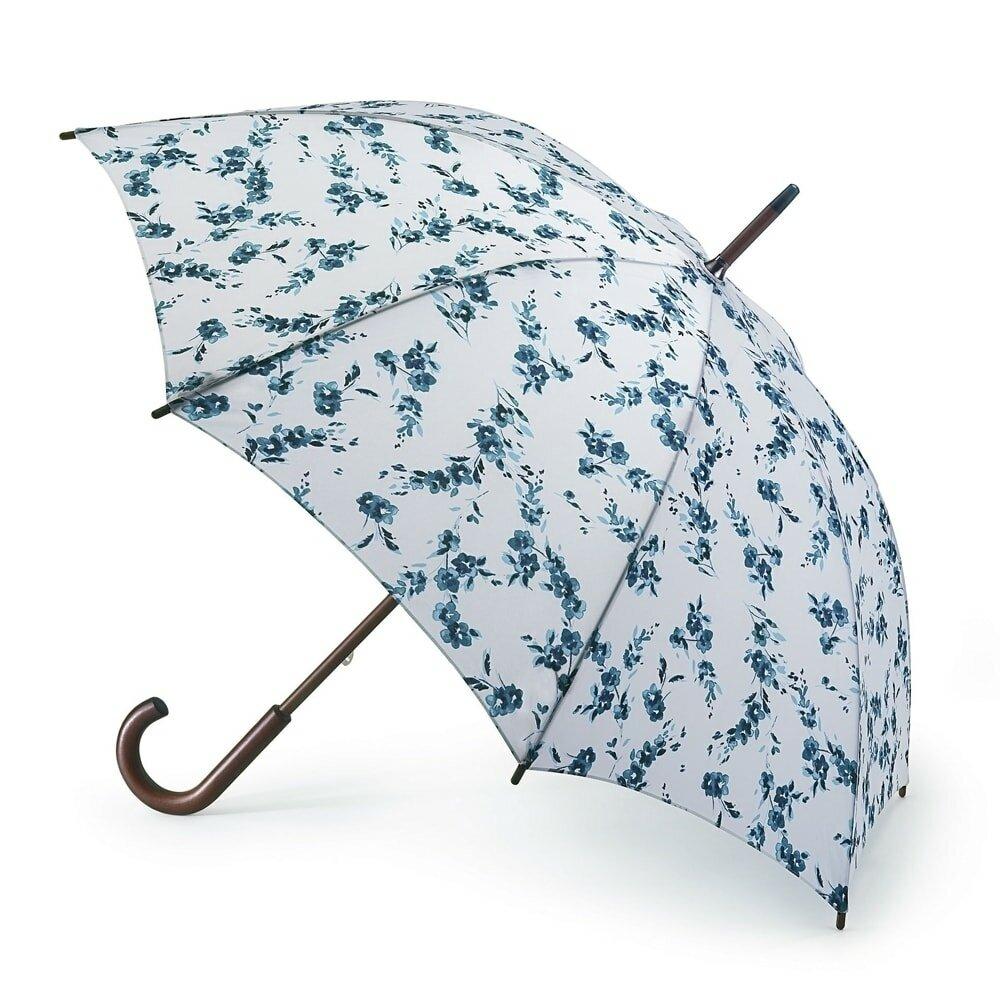 L056-2768 PorcelaineBlue (Цветы) Зонт женский трость Fulton