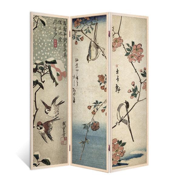 Декор Депо Ширма - перегородка Японские птички 3 створки кремовый дуб