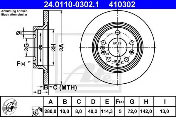 Задний тормозной диск Ate 24011003021