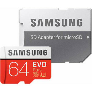 Карта памяти Samsung 64Gb EVO Plus v2 MicroSDXC Class 10 UHS-I U3, SD adapter (MB-MC64GA/RU)