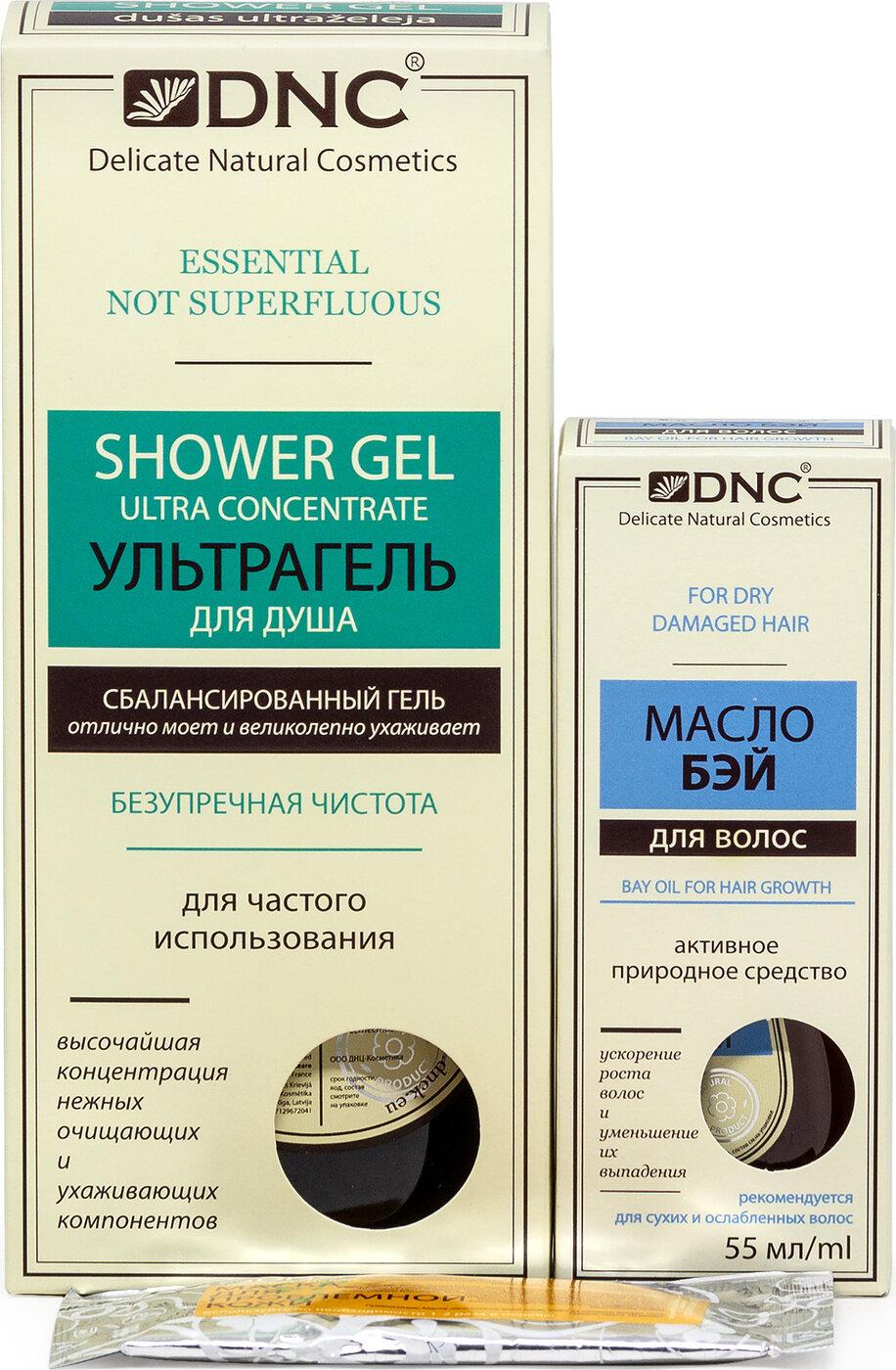 DNC Набор косметики для ухода за кожей: Ультра-гель для душа, 250 мл + Масло для волос