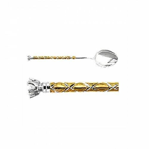 Ложка с фианитом из серебра 925 пробы AQUAMARINE 70604