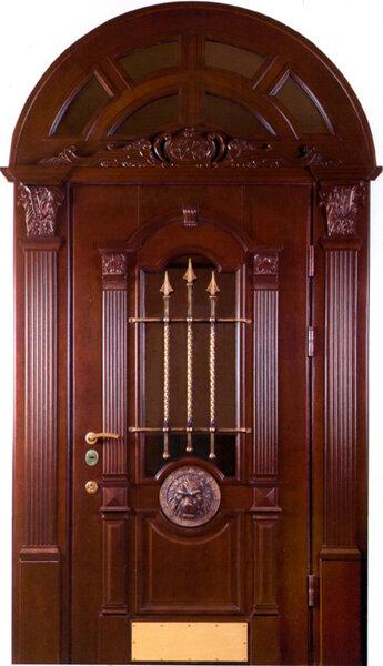 Входная металлическая дверь Муцуна из массива дерева