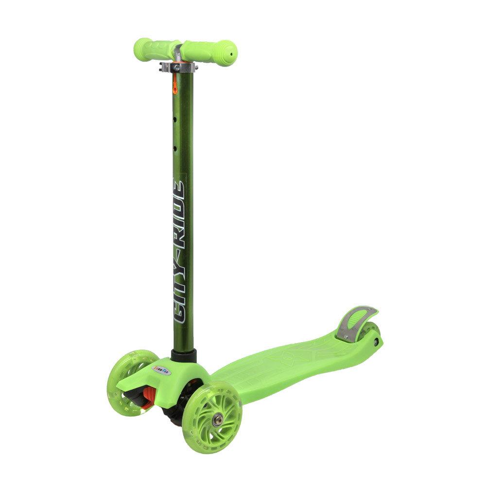 Джамбо Самокат трёхколёсный CITY RIDE регулируемая ручка, светящиеся колёса