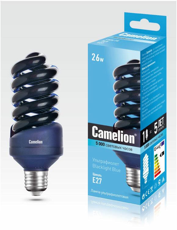 Uniel Ультрафиолетовая лампа на 220В Camelion LH 26-FS-BLB-E27 Blacklight (не является бактерицидной)