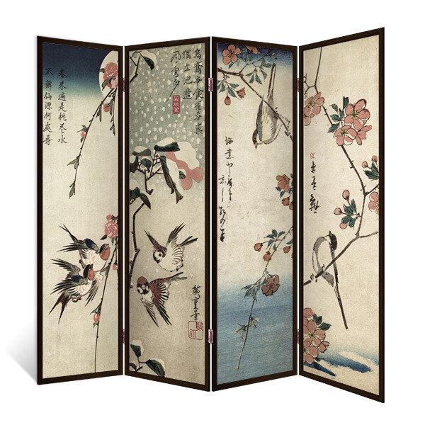 Декор Депо Ширма - перегородка Японские птички 4 створки венге