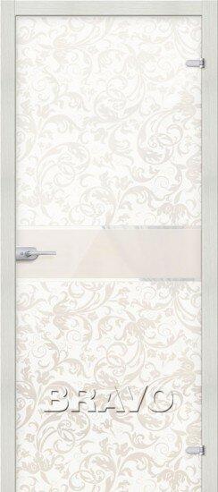 Дверь Браво Стеклянные Флори Белое межкомнатная