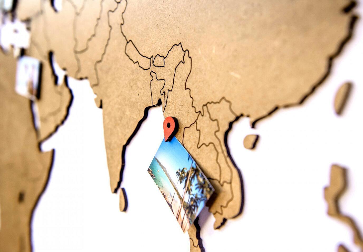 Карта мира Wall Decoration Brown 130 x 78 cm (декоративные карты мира)