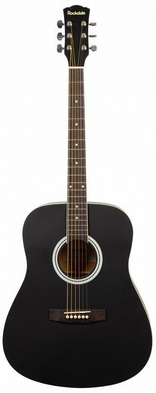 ROCKDALE AURORA 120-BK-S гитара типа дредноут с анкером, верхняя дека - ель, нижняя дека и обечайки - агатис, гриф - клен, накл