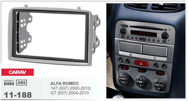 Переходная рамка для установки магнитолы CARAV 11-188 - ALFA ROMEO 147 (937) 2000-2010; GT (937) 2004-2010