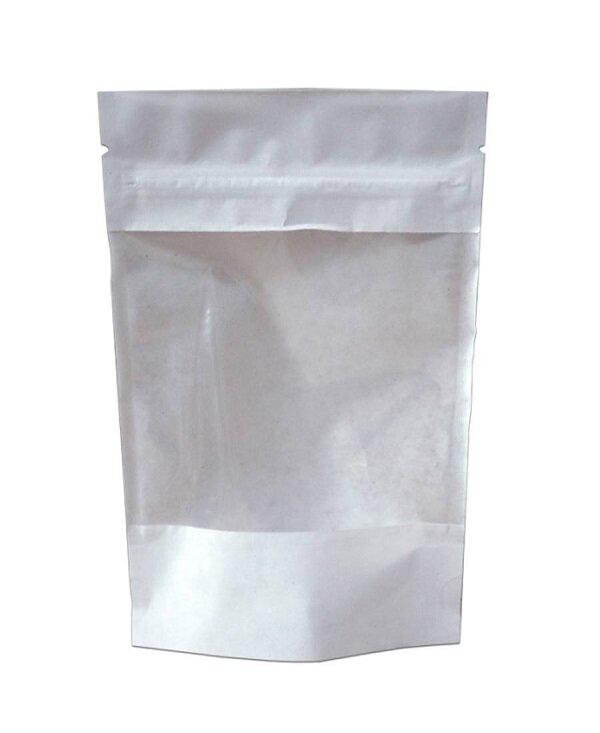 Крафт пакет дой-пак зип-лок белый 135*225мм с окном. В упаковке 100шт.