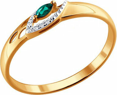 Золотое кольцо SOKOLOV 3010514_s с изумрудом, бриллиантами, размер 17 мм