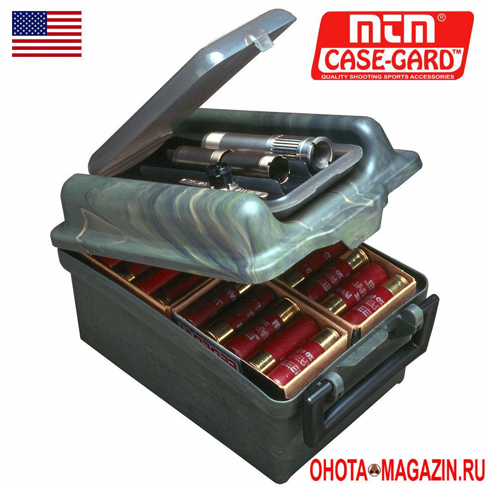 Ящик-кейс на 100 патронов с пеналом для чоков MTM Case-Card Shotshell Choke Tube Case