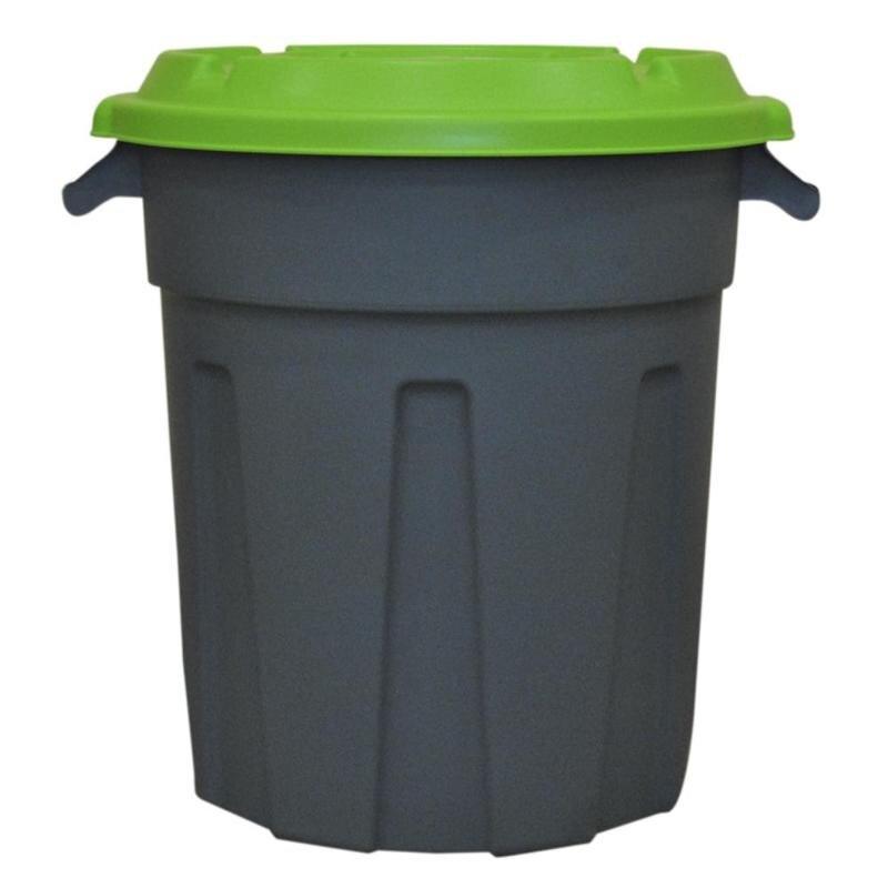 Бак 80 л с крышкой и ручками (пластик, зеленый/серый)