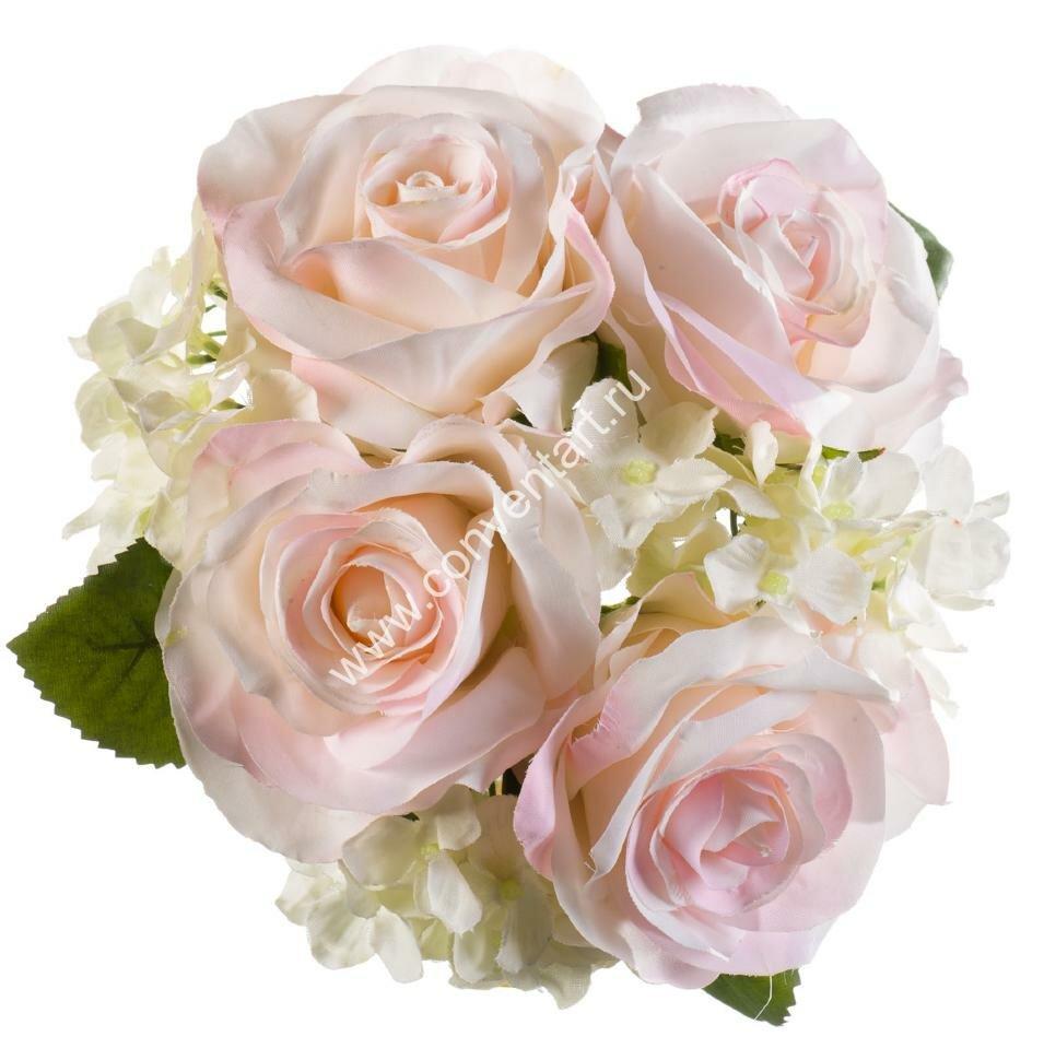 Букет из искусственных роз и гортензий H20 см