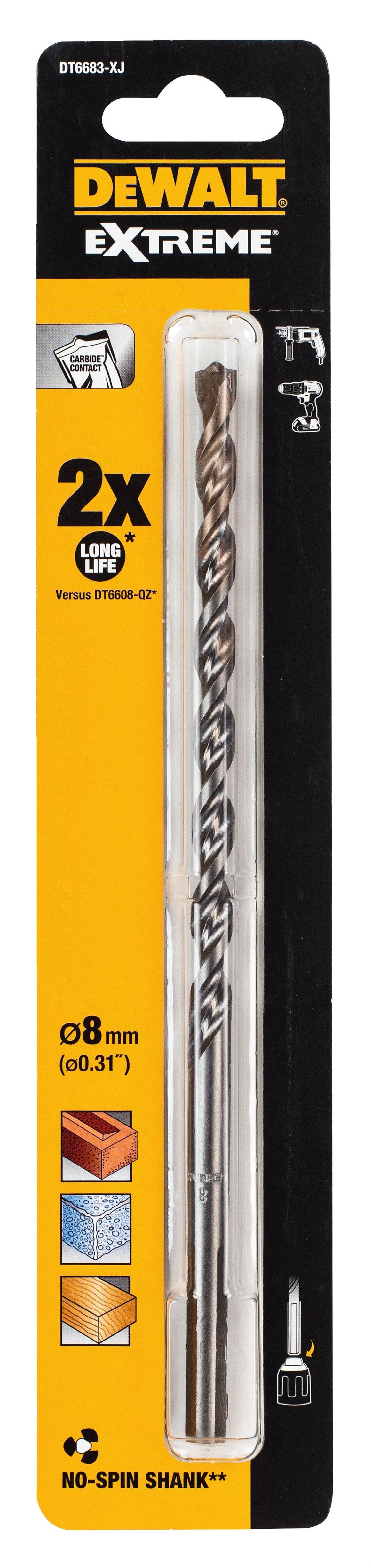 Сверло DEWALT EXTREME DT6683, по бетону и камню с 3 гранным хвостовиком 8 x 200 мм