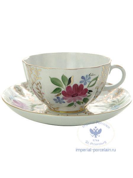 Чайная пара форма Тюльпан рисунок Золотые травки
