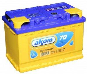 Автомобильный аккумулятор АКОМ 70R 680А обратная полярность 70 Ач (278x175x190)