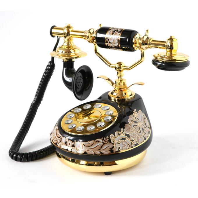 Ретро-телефон фарфоровый черный, H-HT8912A