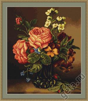 Набор для вышивания Luca-S Ваза с розами и цветами