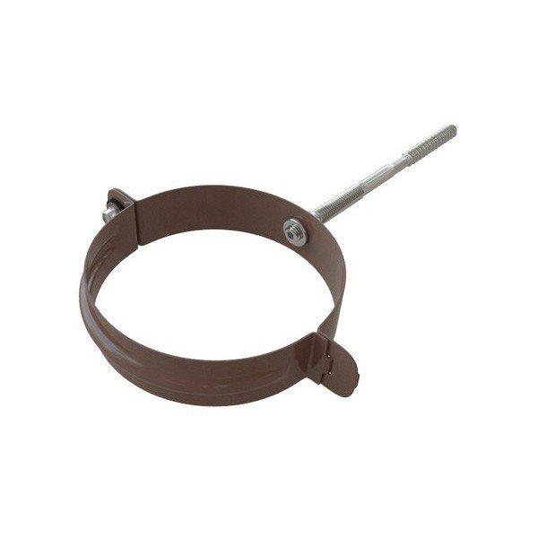 Водосток Альта-Профиль ПВХ – Хомут трубы металлический (коричневый, белый)