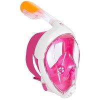 Маска для плавания снорклинга на все лицо с трубкой (розовый) S/M
