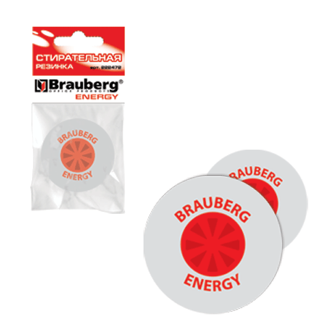 "Ластик 30см, кругл. BRAUBERG ""Energy"", пласт.держ., цв.бел, в уп. с подв, 222472"