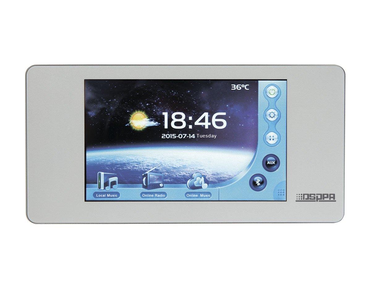 "DSPPA DM-838 Активный мультиформатный аудио плеер. 2х20Вт\ 8Ом. Установка в стену. 5"" сенсорный экран. Таймер. AM\FM тюнер SD-карта. Лин. выход. Bluetooth. Совместимость iOS и Android. Протокол DLNA/Airplay. Размер 172х86х45 мм. Вес 380 гр."