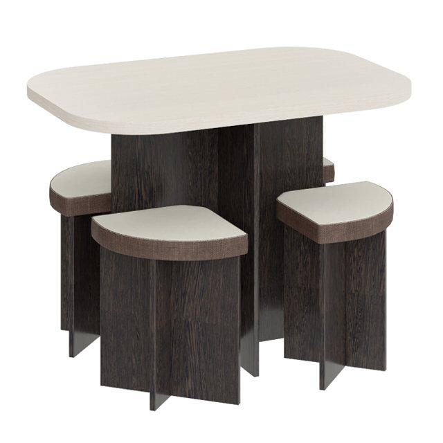обеденная группа олимп стол и 4 табурета венге цаво/дуб белф