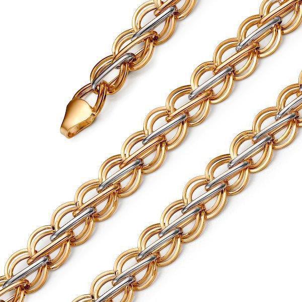 Широкий мужской золотой браслет цепь Эстет 01B012240R, размер 21 мм