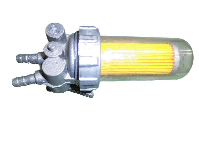 Кран топливный с пластиковым стаканом (с креплением на картер, штуцеры сверху) R190,R195