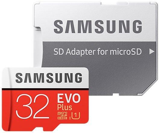 Карта памяти 32Gb MicroSD Samsung EVO PLUS Class 10 + SD adapter (MB-MC32GA/RU)