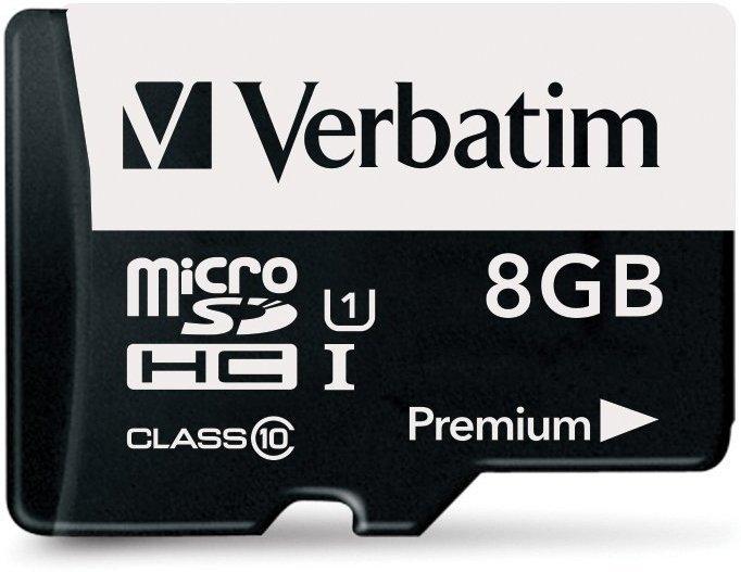Карта памяти 8Gb MicroSD Verbatim Class 10 + SD адаптер (44081)