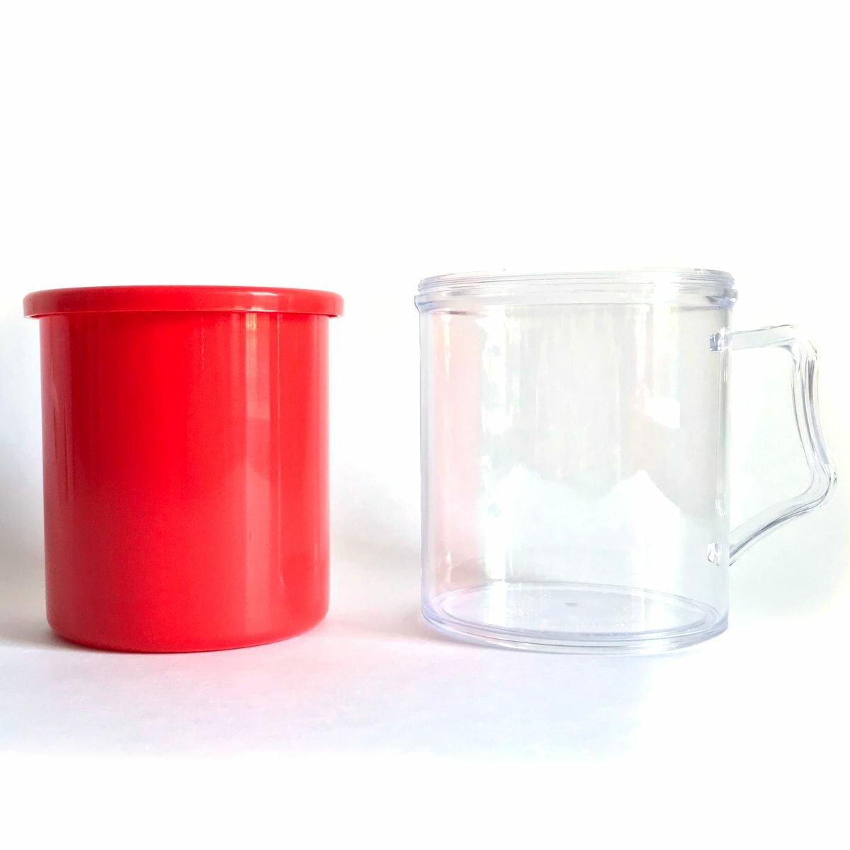 Заготовки пластиковых кружек под полиграфическую вставку АК2 (Красный, 40 шт.)