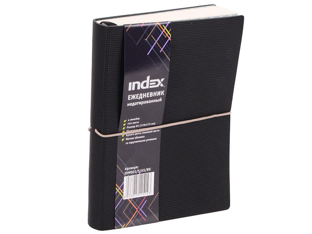 Ежедневник недатированный Index IDN003/S/A5/BK искусственная кожа