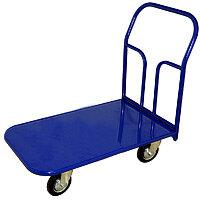 Тележка платформенная маленькая, офисная или складская с металлической платформой 600х900. Два поворотных колеса у ручки. Нагрузка до 300 кг, колеса 16 см.