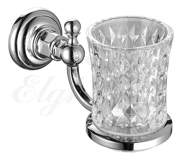 Cтакан для ванной с держателем, стекло ELGHANSA Praktic PRK-412
