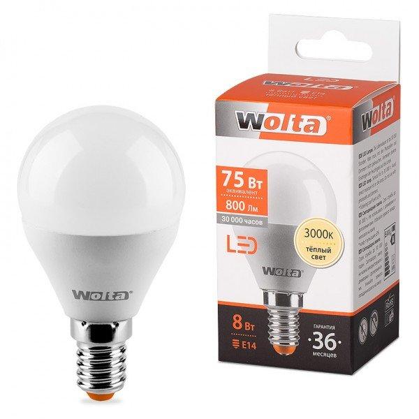 Лампа Wolta E14 G45 8Вт 3000K