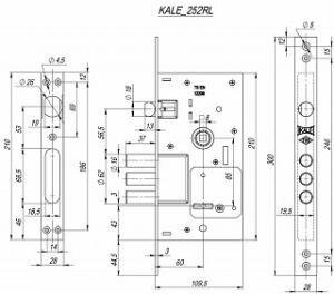 Врезной сувальдный замок Kale kilit (Кале килит) 252/RL никель 5кл.