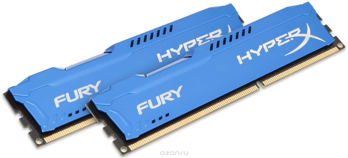 Kingston HyperX Fury DDR3 1866 МГц 2x4GB, Blue комплект оперативной памяти (HX318C10FK2/8)