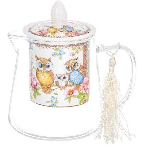 """Чайник стеклянный с фарфоровым ситом """"Совушки"""", форма графин, 13x9,5x13,5 см, 500 мл"""