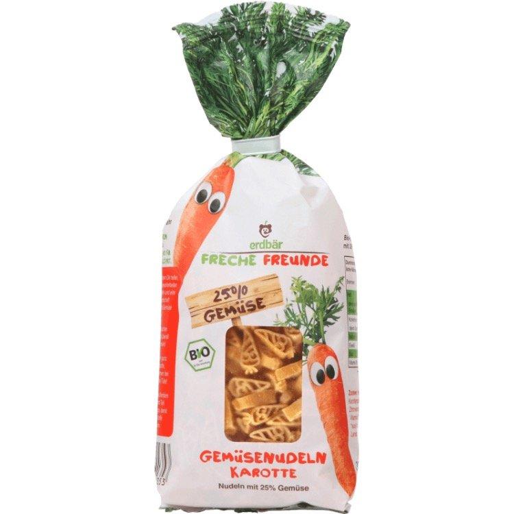 Макароны для детей Freche Freunde с морковью, 300 гр. Erdbaer